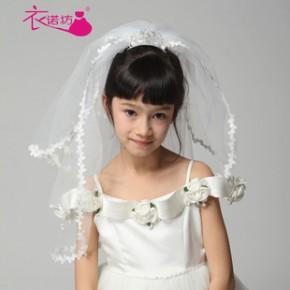 儿童结婚头纱 礼仪头纱 新娘花童头纱 节日头饰发饰036款