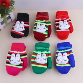 儿童手套卡通冬季手套 双层保暖带绳立体小兔子针织小孩手套