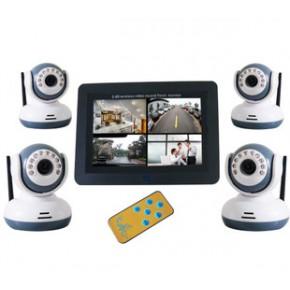 7寸无线数字婴儿看护器 无线DVR 无线四画面婴儿监视器 四分割DVR