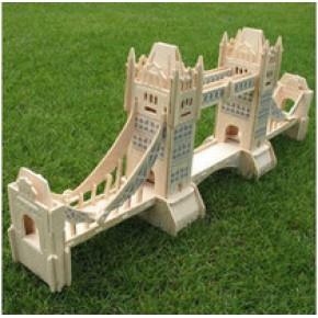 四联 DIY 木质立体拼图玩具 建筑拼图 大4英国伦敦塔桥