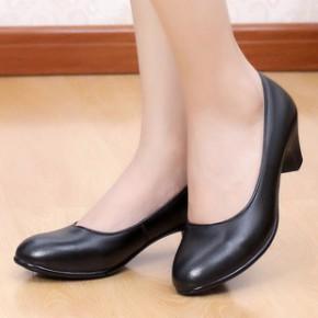 真皮工作鞋中跟轻便女皮鞋职业上班鞋女鞋 正装酒店鞋35-43码