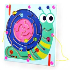 小皇帝蜗牛磁性运笔智力迷宫 运笔儿童益智木制玩具0.6 xhd3061