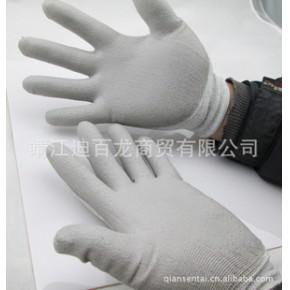 供应碳纤维防静电PU涂掌手套 防静电尼龙手套