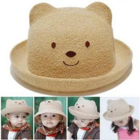 MZ-038 小熊盆帽草帽批发 儿童太阳帽子 男女宝宝小熊造型帽 5色