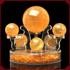 天然黄水晶球 黄水晶七星阵方解石水晶球 超强招财 旺财摆件