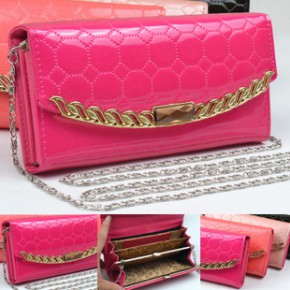 105韩版女士钱包链条 批发 时尚亮皮pu皮新款内较女包潮长款