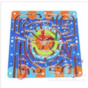 木制迷宫 蝴蝶型/环形磁性迷宫 木制早教启蒙玩具