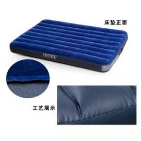 美国INTEX蓝色灯心绒双人充气床 气垫床批发