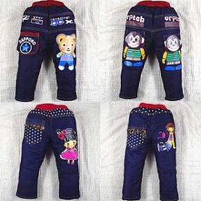 常熟童装 冬季爆款 2-6岁儿童牛仔棉裤 男童韩版棉裤批发