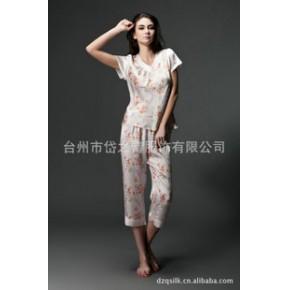 2013新款热销真丝短袖睡衣 丝绸睡衣裤 家居服睡衣
