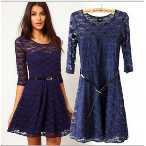 2013春装欧美风新款圆领蕾丝拼接带腰带修身五分袖ASOS连衣裙
