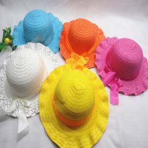 韩版蕾丝花边草帽大沿帽太阳帽儿童帽子
