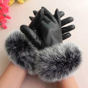 2013新款羊皮手套 女式真皮手套 皮手套 韩版女秋冬保暖兔毛手套