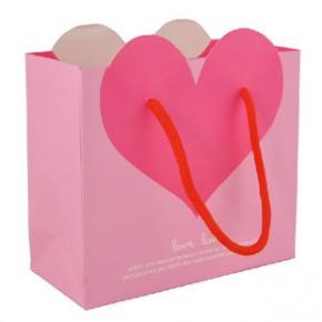 粉底爱心喜糖袋 回礼袋子 生日饰品礼物袋小号 礼品袋 纸袋