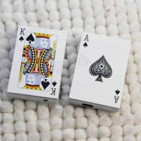 创意 扑克带验钞环保电子点烟器 USB点烟器