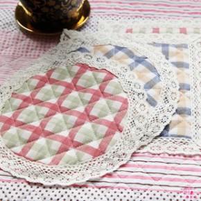 一朵 田园格子绗缝餐垫 隔热垫 碗垫 杯垫 盘垫 锅垫
