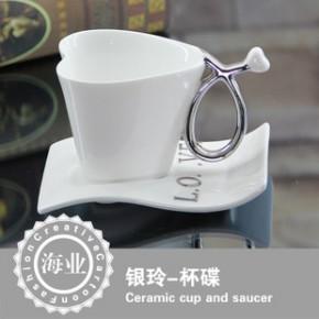 欧式 咖啡杯碟心形 外贸 陶瓷 杯碟套装 礼盒 促销 赠品