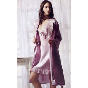 艺尔专柜特价100%真丝品牌真丝睡衣 真丝吊带睡袍女套装SY-0183