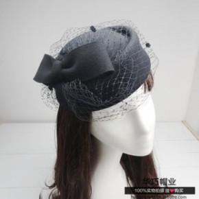 英伦风格式100%羊毛毡帽礼帽女士头花 潮新娘头饰贝蕾帽