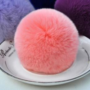 枣强大营批发8cm 10CM獭兔毛毛球挂件 生产加工真毛皮草饰品辅料