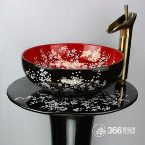 立柱套盆 景德镇陶瓷艺术台盆立柱洗脸盆面盆三件套组合黑红金梅J