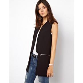 2013秋季新款asos同款欧美风拉链装饰中长款修身西装马甲 女装