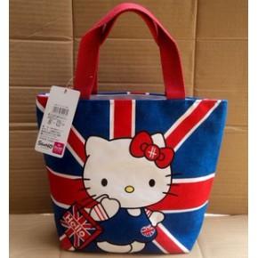 日单Hello Kitty凯蒂猫轻松熊帆布拉链手提包饭盒包购物袋小拎包