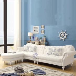 地中海风格转角沙发 白色皮艺拉扣组合沙发 L形组合沙发
