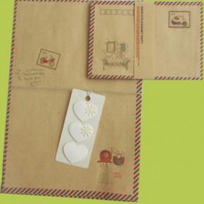 航空信封信纸书签套装 6个小信封+6张牛皮信纸+6枚装饰邮票套装