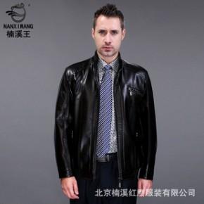 楠溪王5186PU皮外套修身男士中老年皮外套韩版男棉绒款休闲立领装