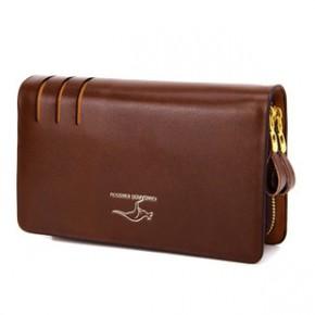 袋鼠 真皮男士手抓包 牛皮手拿包休闲商务男手包