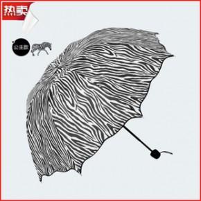 时尚流行斑马伞 8k阿波罗荷叶边三折雨伞 防晒遮阳太阳伞 超