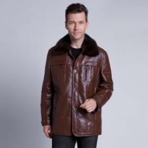 九子龙  海宁真皮皮衣 男士进口水貂翻领 纯绵羊皮羽绒服外套中长