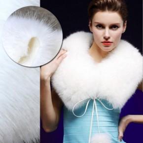 冬款加厚仿狐狸毛皮草纺织 白色装饰长毛绒毛领