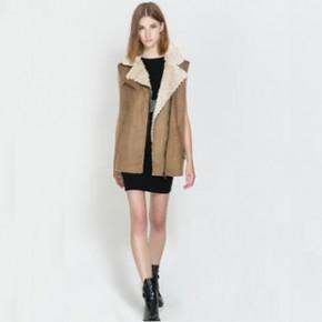 2013秋冬新款 欧美风时尚流行皮毛一体白兰地色大码马甲  WWT0310