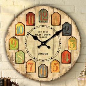 欧式创意挂钟塑料钟表 厂家直销 方形木质挂钟 时尚家居 电子钟