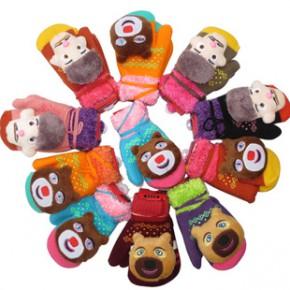 熊出没新款双层加绒加厚儿童手套 男童女童保暖手套宝宝包手 批发
