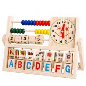 婴幼儿早教 多功能翻板计算架 儿童益智木制玩具