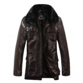 冬季新款中老年男装加厚加绒中长款男士皮衣时尚毛绒翻领精品
