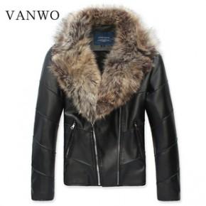 梵沃 2013冬季新款毛毛内胆毛领皮衣 男式韩版皮衣批发