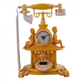 新时尚创意仿古电话机 金色形体带钟表