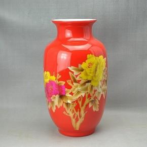 景德镇陶瓷花瓶 麦秆瓶 冬瓜瓶 中国红瓷花瓶
