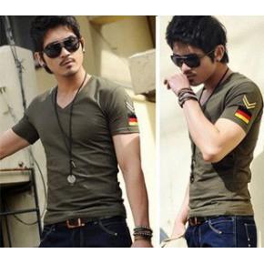 爆款军风肩章T恤大码韩版男装式士修身V领短袖T恤男批发