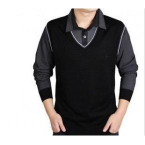 2012新款特价 七匹狼同款 翻领 休闲商务 假两件长袖男T恤227