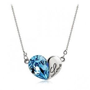 外贸批发 海洋之心进口水晶吊坠 韩版流行饰品 女款纯银项链