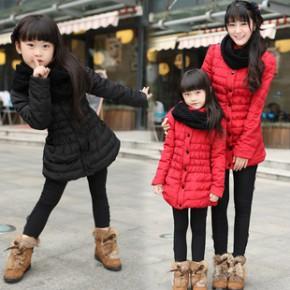 亲子装批发 母女装 韩版羽绒棉棉衣亲子装 送围脖 网店代理代发