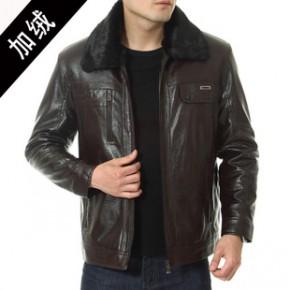 中老年男士冬季新款 内加绒大毛领PU皮皮衣 长袖外套