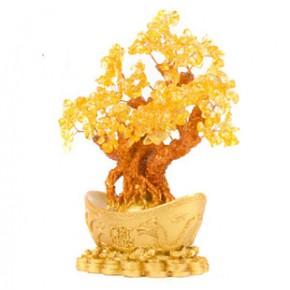 年安水晶 天然黄水晶元宝招财树  家居风水摆件 聚财灵物