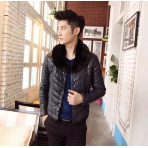 韩版男装新款皮衣特价款 冬季爆款精品男士毛领皮衣 男式pu皮皮衣