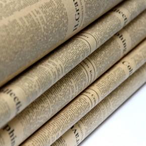 zakka创意家居 个性旧报纸礼物仿真花包装纸 复古牛皮英文墙纸